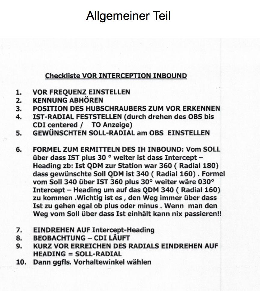 checkliste VOR