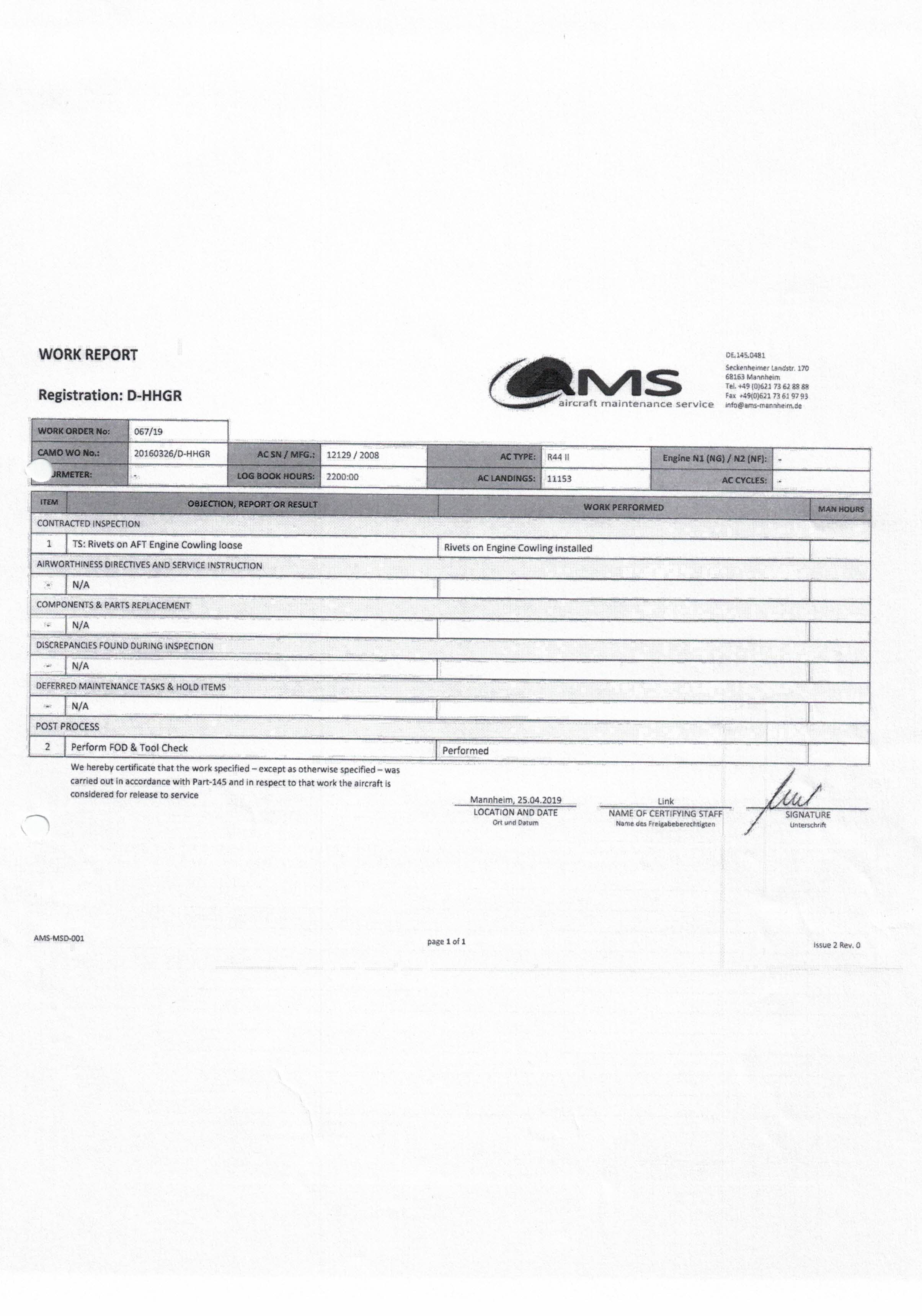Work Report AMS Werft 1